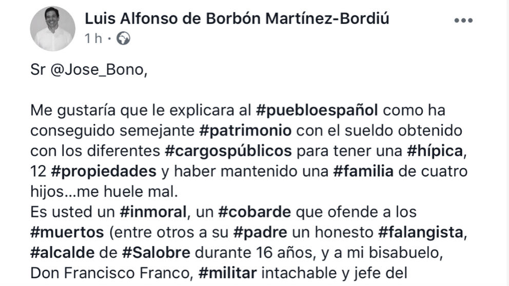 Mensaje publicado por el bisnieto de Franco en las redes sociales.