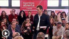 Pedro Sánchez interviniendo en una Asamblea del PSOE de Castellón el pasado febrero. (Fuente: PSOE)