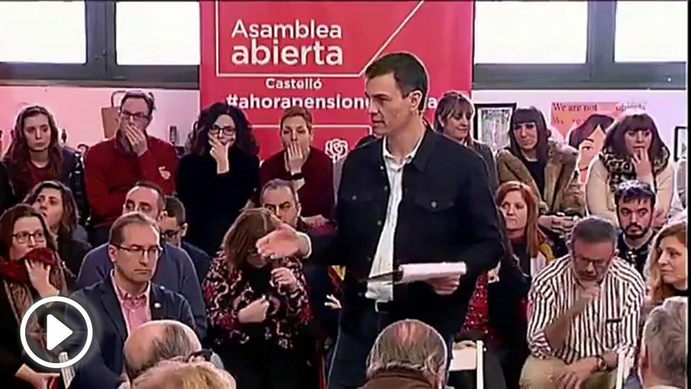 Pedro Sánchez interviniendo en una Asamblea del PSOE de Castellón en febrero de 2018. (Fuente: PSOE)