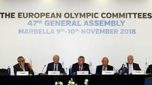 Bach y Alejandro Blanco en el European Olympic Committes.
