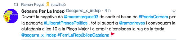 El alcalde independentista de Cervera pide llenar el homenaje a Marc Márquez de esteladas