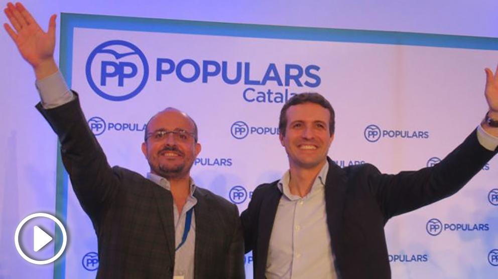 Pablo Casado este sábado con Alejandro Fernández en Cataluña (EP).