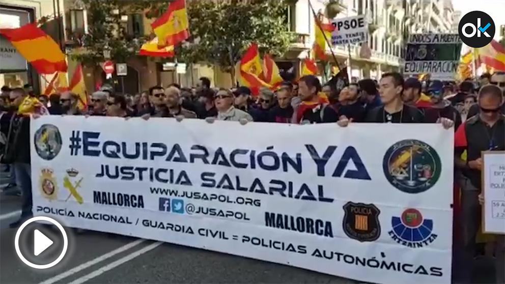 Manifestación de Jusapol este sábado en Barcelona.