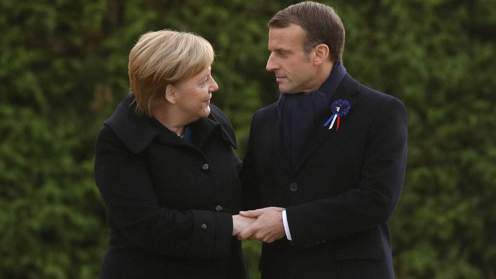 Angela Merkel y Emmanuel Macron (Foto: AFP)