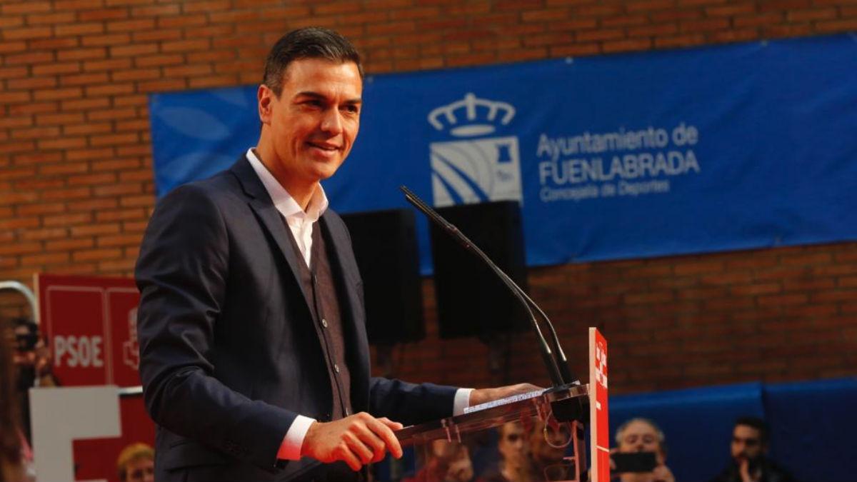 Pedro Sánchez este sábado en Fuenlabrada (EFE).