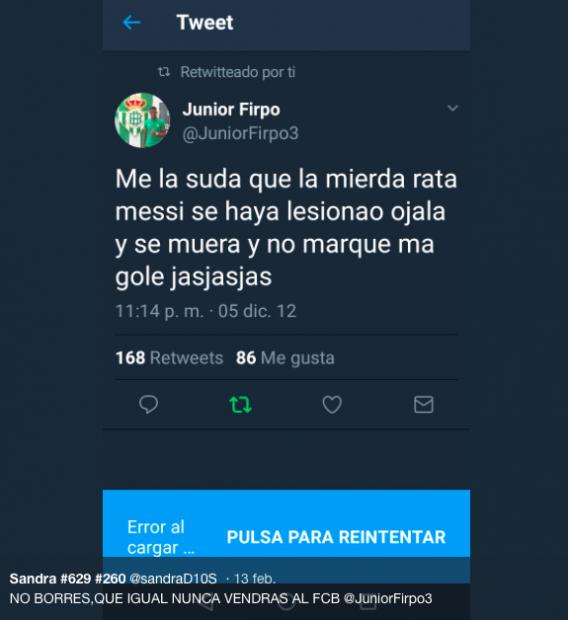 Los polémicos tuits de Junior: insultó a Messi y le deseó la muerte