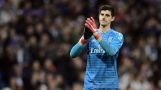 Courtois, en un partido con el Real Madrid. (AFP)