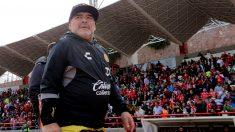 Diego Armando Maradona, durante un partido del Torneo Apertura mexicano. (Getty)