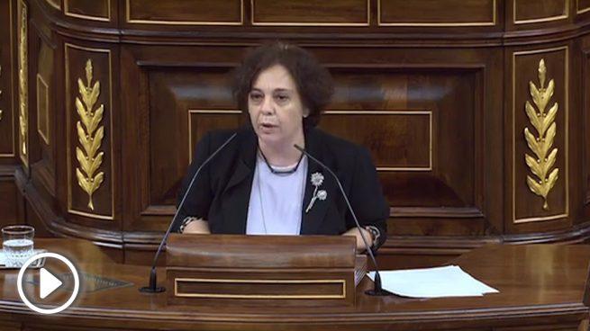 La diputada de Podemos Gloria Elizo, el pasado 20 de septiembre en el Congreso