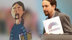 Pablo Iglesias junto al dibujo en el libro de Primaria de Andalucía