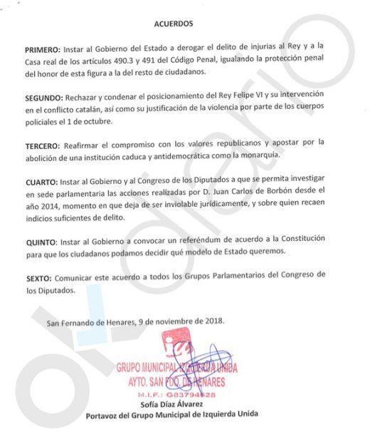 Escrito de IU San Fernando de Henares (Madrid) pidiendo derogar el delito de injurias a la Corona.