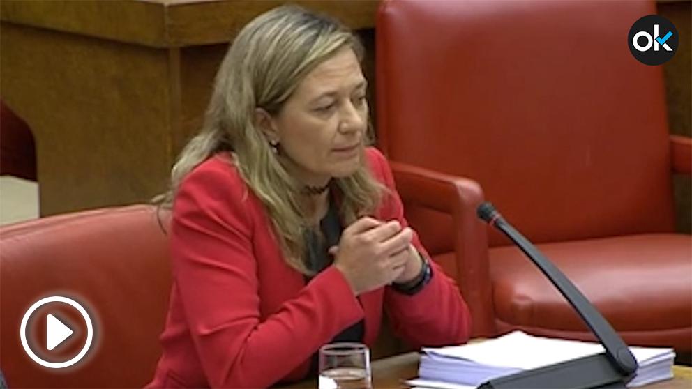 La juez y exdiputada de Podemos, Victoria Rosell, en una intervención en el Congreso en 2016.