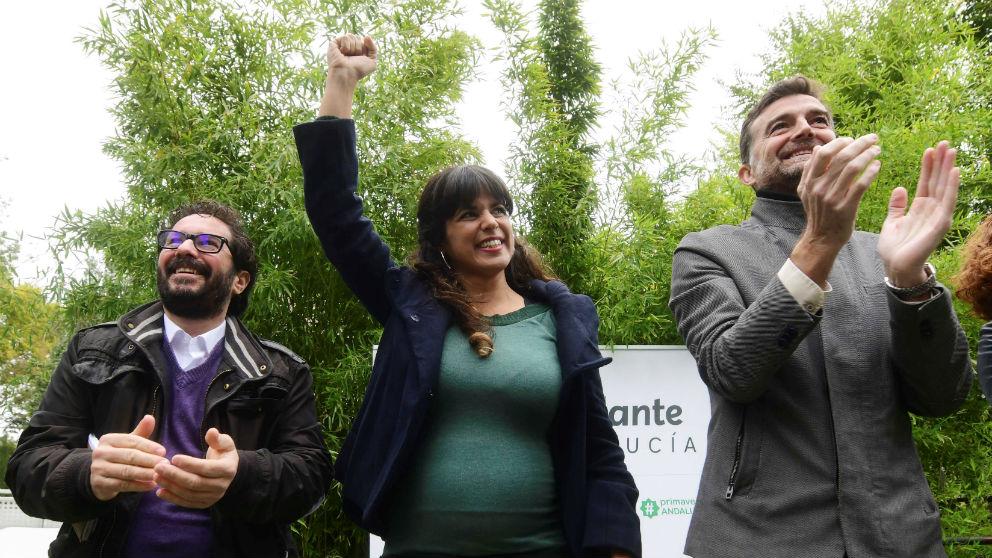 Teresa Rodríguez, Antonio Maíllo (d) y David Moscoso. (Fuente: EFE)