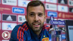 Jordi Alba durante la rueda de prensa en su regreso a la selección. (EFE)