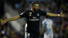 Karim Benzema celebra su gol ante el Celta (AFP).