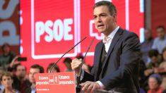 Pedro Sánchez, durante un mitin del PSOE.