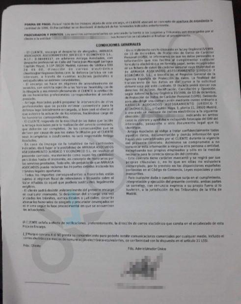 Las 'clausulas abusivas' de Arriaga Asociados: cobra al cliente las costas y los intereses legales