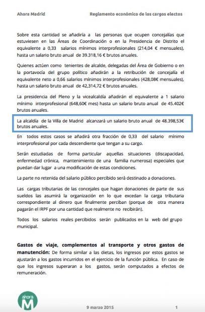 Carmena vuelve a subirse el sueldo y ya gana 104.000 €, 4.000 más que Ana Botella