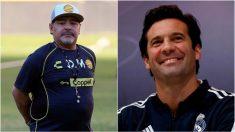 Maradona y Solari, en dos fotos recientes (EFE).