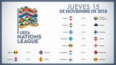 Los partidos de hoy jueves 15 de noviembre de la Liga de las Naciones.