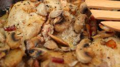 Receta de pollo con setas y ajetes