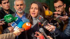 Inés Arrimadas ante los medios de comunicación. Foto: Europa Press