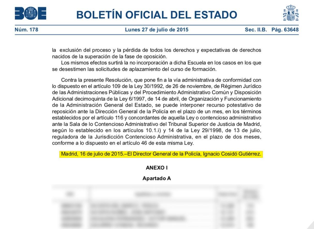 Cosidó firmó personalmente el otro soborno al chófer de Bárcenas: la entrada en la Academia de Policía