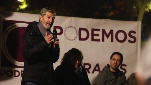El ex Jemad Julio Rodriguez este jueves en Barajas. (Foto. Podemos)
