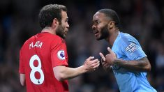 Juan Mata y Sterling, del Manchester United y Manchester City, respectivamente. (Getty)