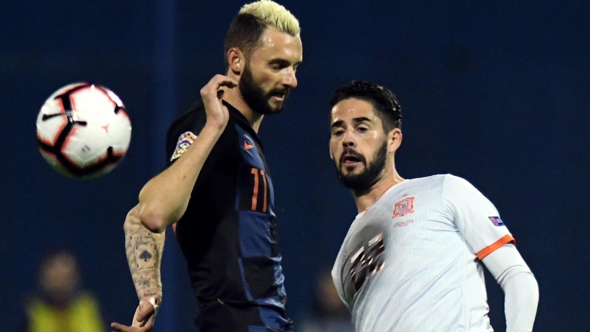 Isco, durante el Croacia – España de la UEFA Nations League (AFP).