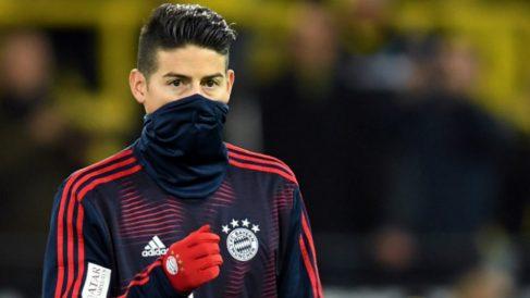 James Rodríguez, antes de un partido con el Bayern. (AFP)