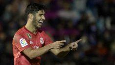 Marco Asensio celebra un gol con el Real Madrid. (AFP)