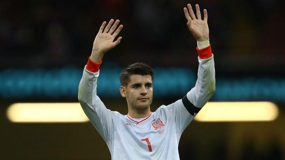 Morata, durante un partido de España. (AFP)