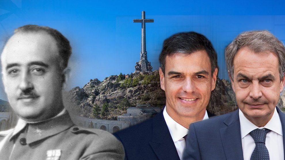 Francisco Franco, Pedro Sánchez y José Luis Rodríguez Zapatero.