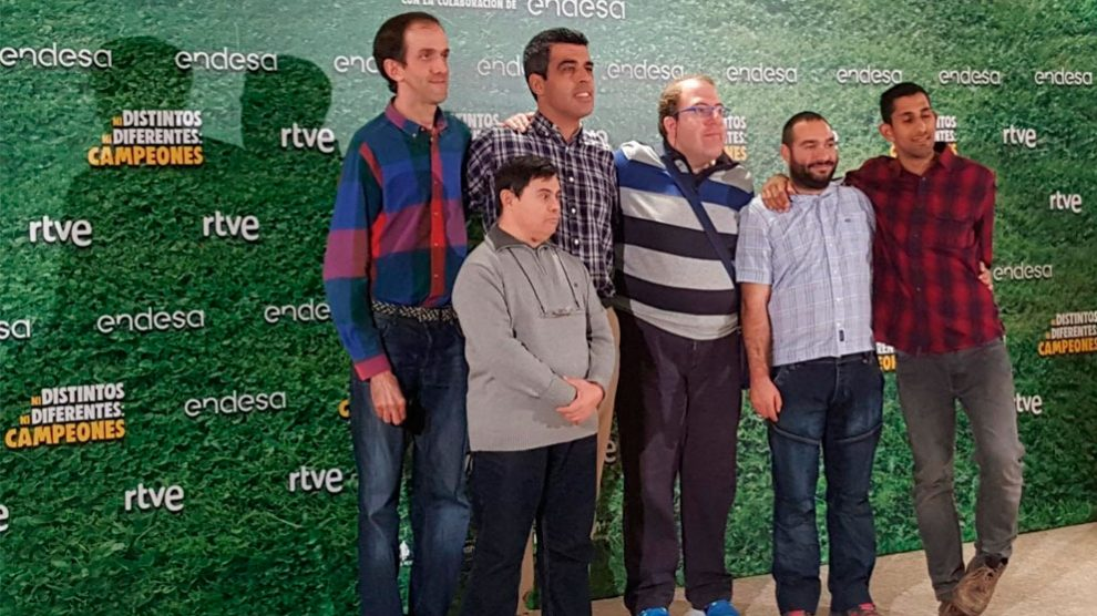 Los protagonistas de 'Campeones' de Javier Fesser durante lapresentación del documental sobre su vida cotidiana. Foto: Europa Press