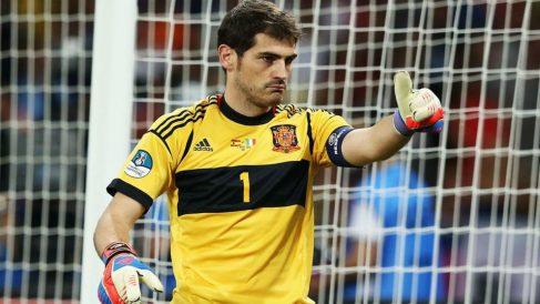 Iker Casillas, en uno de sus últimos partidos con la selección española.