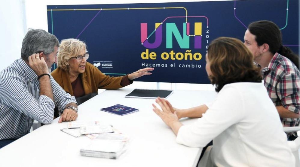 Julio Rodríguez, Manuela Carmena, Pablo Iglesias y Ada Colau. (Foto. Universidad de Podemos)