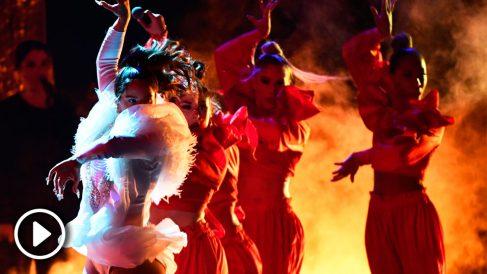 Rosalía actuó en Las Vegas interpretando 'Malamente'. Foto: AFP