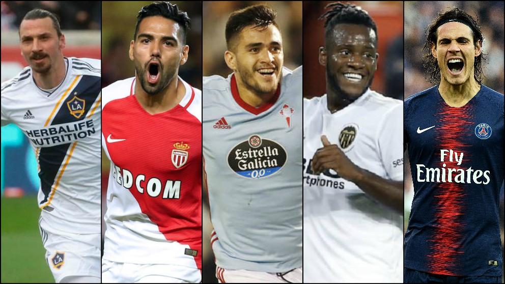 Ibrahimovic, Falcao, Maxi Gómez, Batshuayi y Cavani.