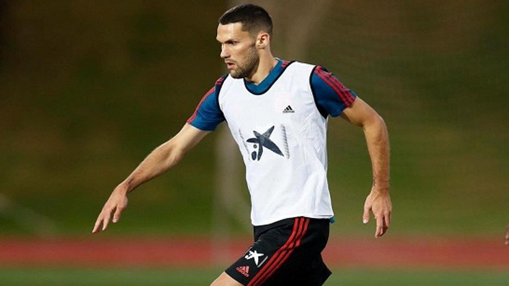 Pedraza, en un entrenamiento de la Selección sub 21.