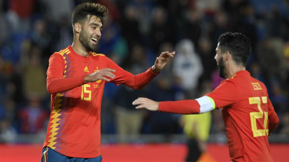 Brais Méndez celebra su gol en el España – Bosnia. (AFP)