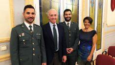 Álvaro Cano, Eduardo Inda, Óscar Arenas y la madre de este último, el pasado viernes en el Círculo Ahumada.