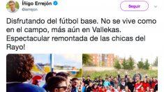 Errejón confunde la Liga Iberdrola con el fútbol base.