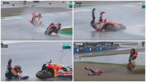 La tremenda caída de Márquez en el GP de Valencia. (Movistar)
