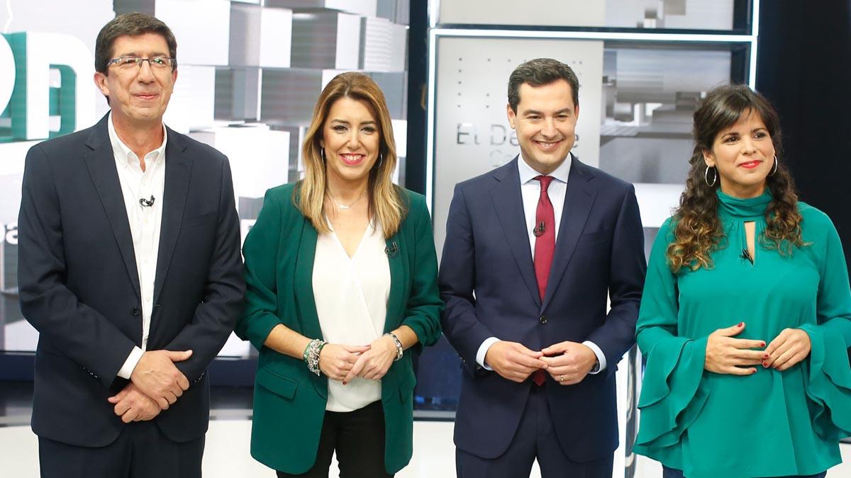 Los 4 candidatos a presidir la Junta de Andalucía tras las andaluzas antes del debate. Foto: EP