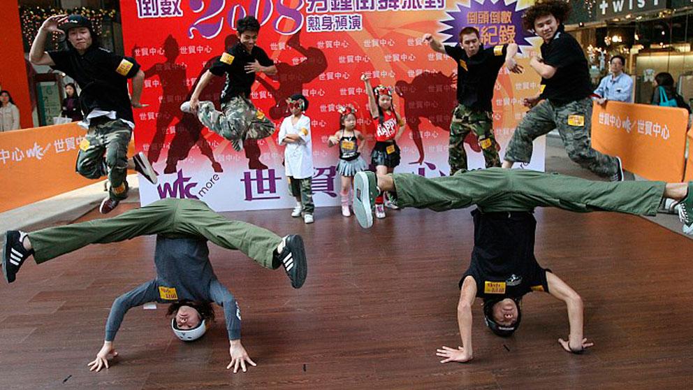Un grupo de jóvenes chinos en una competición de hip hop. Foto: AFP