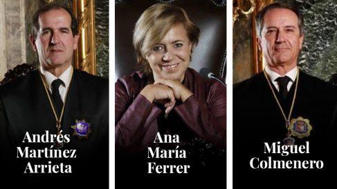 Los magistrados del Tribunal Supremo Andrés Martínez Arrieta, Ana María Ferrer y Miguel Colmenero.