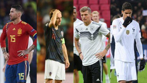 Sergio Ramos, Luka Modric, Toni Kroos y Raphael Varane.