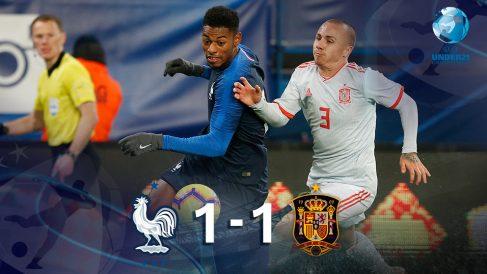 Francia y España empatan en Caen.
