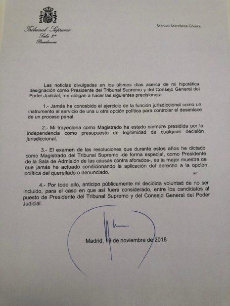 Marchena renuncia a la presidencia del Supremo y dinamita el acuerdo PP-PSOE para el Poder Judicial